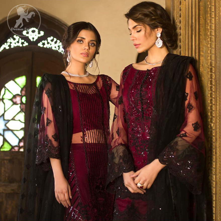 Boost your confidence and style in this glamorous attire accentuated with finest thread work embroidery and cut work borders. Pair it up with embroidered straight pants. It comes with black embroidered dupatta that gives the right amount of glamour to the outfit.