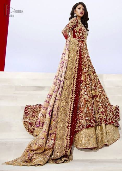 Maroon Floor Length Maxi - Golden Lehngha