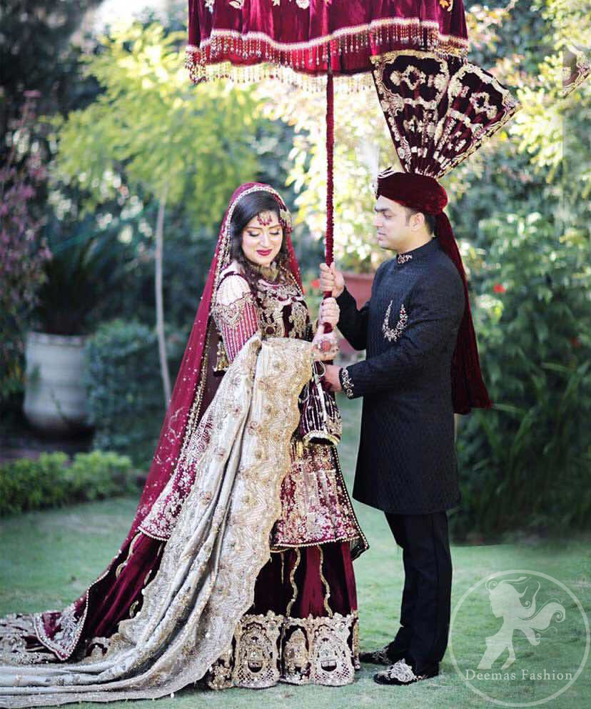 This dress is beautifully decorated with heavy embroidery. It is highlighted with kora, dabka, tilla, sequins and pearls. Frock is fully embellished. Sleeves are decorated in a victorian style frame. It comes with beautiful lehengha. It is coordinated with organza dupatta which is allured with criss cross pattern all over it.