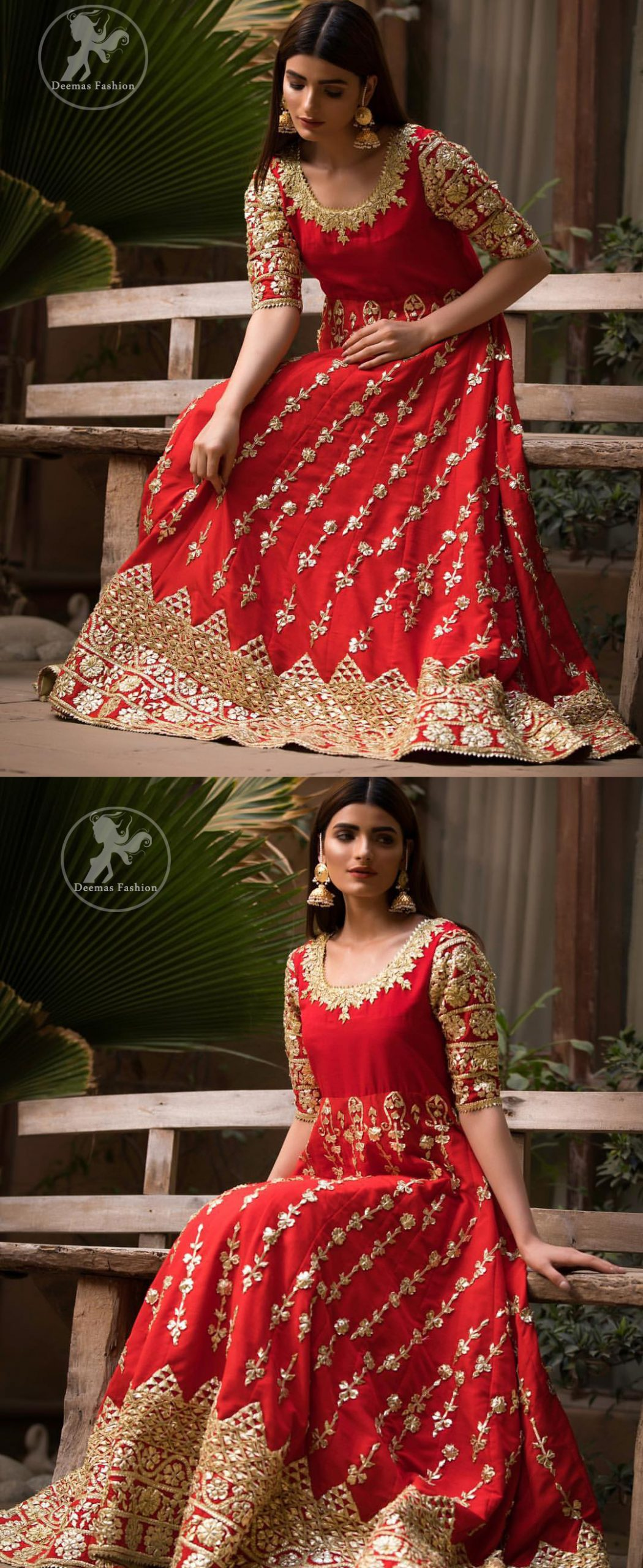 Exude elegance and class in this anarkali frock finessed with beautiful hand crafted embellishment. Embellished neckline and three quarter sleeves enhanced the look. It is further enhanced with verticle styled lines done with golden gotta work. It comprises with detail on bottom. Paired up with churidar pajama and ivory dupatta which is having embroidered border on sides.