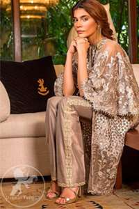 Antique Brass Embellished Gown Straight Trousers