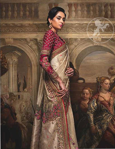 This dress is beautifully sculptured with floral embroidery. It comes with fully embroidered brocade blouse which adds to the look. Pallu is highlighted with kora, dabka, tilla, sequins and pearls. It is allured with delicate tassels.
