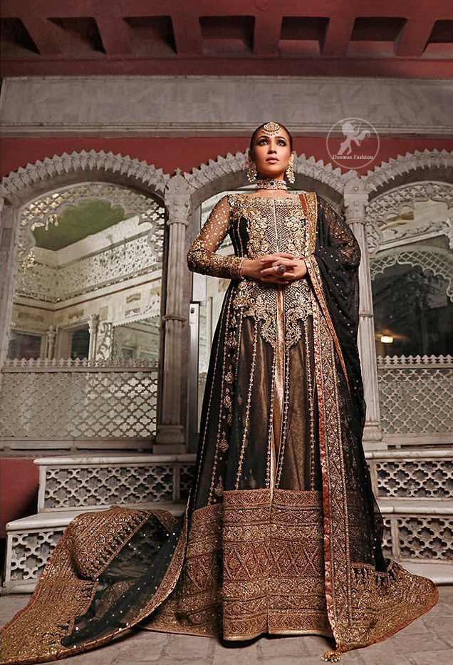Epitomize whimsical elegance in this front open gown adorned with applique borders and multiple panels. It is further enhanced with kora, dabka, tilla, sequins and pearls. It is allured with atlas brocade inner which adds to the look. It comes with brocade pajama. It is coordinated with chiffon dupatta having four sided embellished applique.