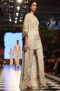 Ivory Embellished Gown Trousers Dupatta