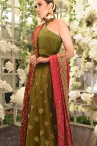 Mehendi Green Blouse Lehengha Mexican Red Dupatta