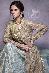 Regent Gray Lehengha Gown Dupatta Antique Work