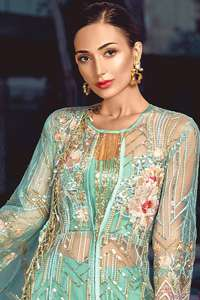Sea Green Front Open Net Shirt Trousers Dupatta