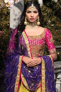 Shocking Pink Blouse Yellow Lehengha Purple Dupatta