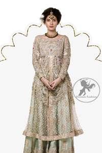 Tea Pink Front Open Net Shirt Sharara Dupatta