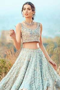 Ferozi And Fawn Double Layer Lehenga Blouse & Dupatta