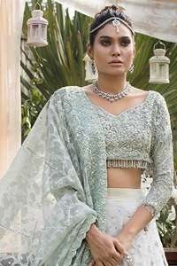 Light Sea Green Blouse Dupatta & Ivory Lehenga