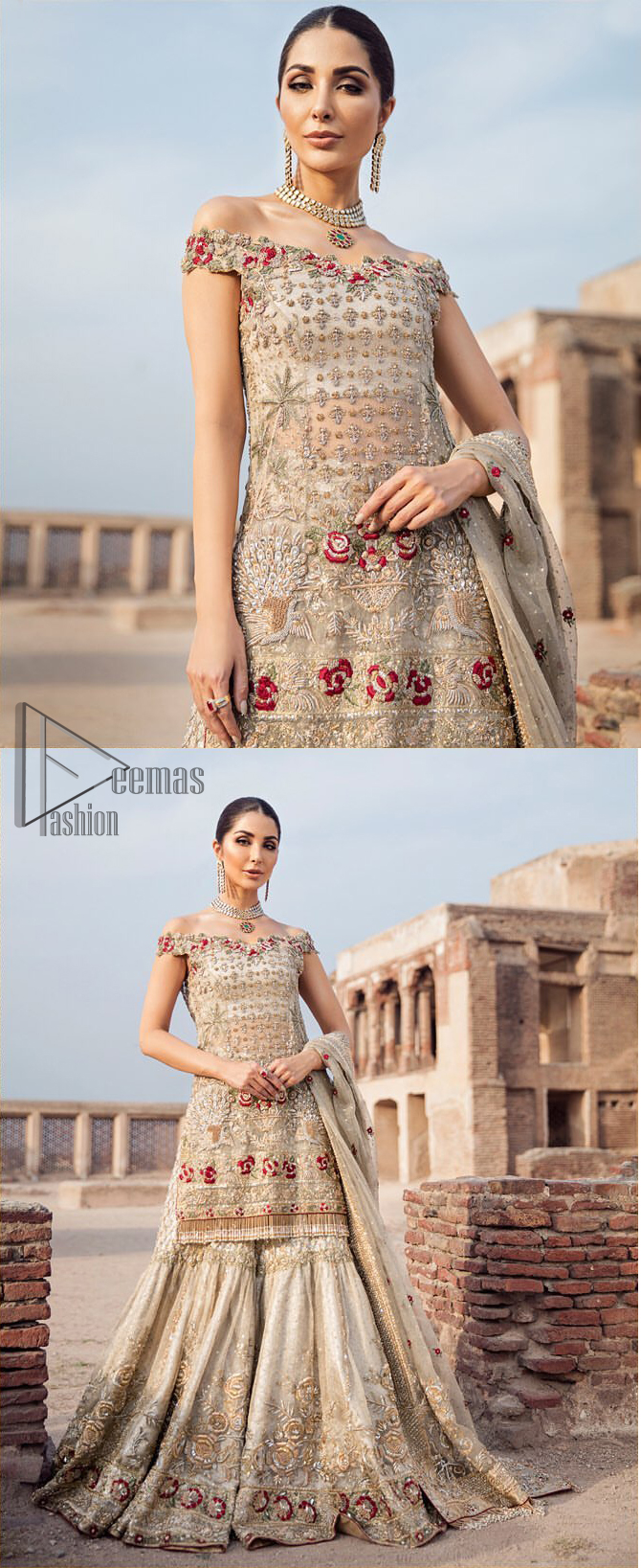 Classic and elegant, this dress is perfect for brides looking for a traditionally wedding outfit.. A perfectly pretty combination of light golden and antique embellishment, This off shoulder wedding dress is elegant and eye-catching in equal measure. This off shoulder shirt is done with zarozi detailing and vibrant floral motifs all over. Furthermore it is sculptured with different motifs like birds. It comprises with traditional handcrafted gharara. Complete the look with off white organza dupatta having four sided heavily embellished border and tassels.