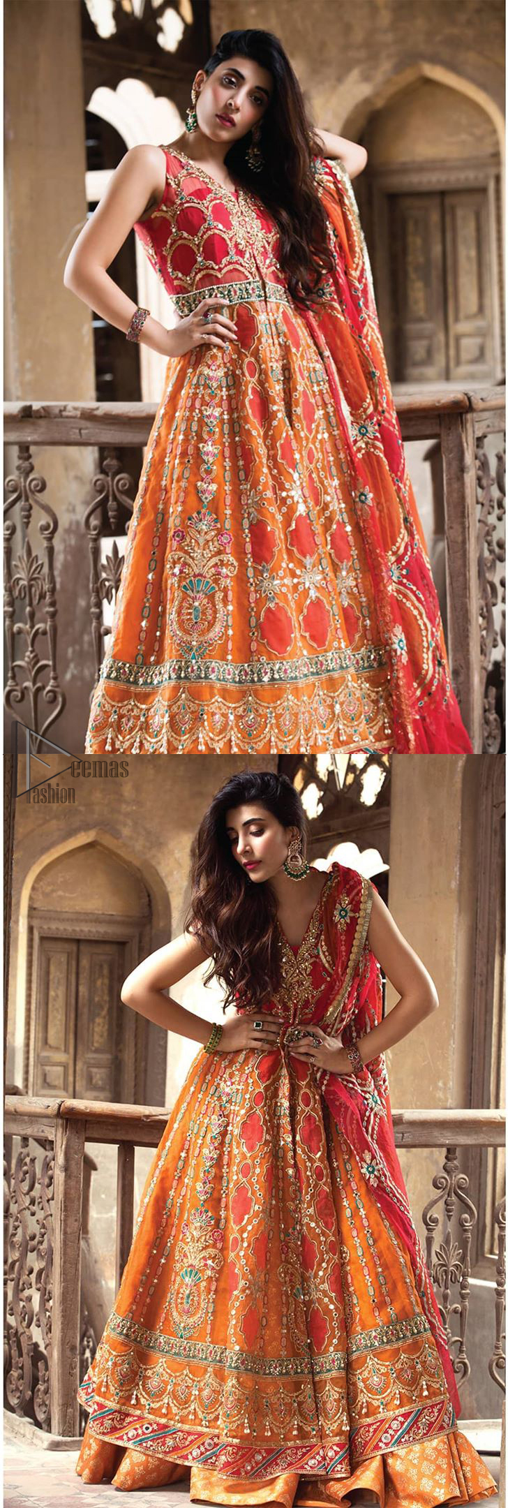 This artisanal piece is rendered in grace and timelessness. Brighten up your look with this mix of floral and geometrical embroidery in vibrant tones spread across on red and orange canvas. The front open pishwas is delicately crafted with zardozi work, multiple color embroidery and mirror work. Furthermore it is also adorned with green embellished applique and the colorful applique lift the whole bottom. It comprises with orange sharara. Finished the dress with red and orange organza dupatta with geometric patterns on the ground.