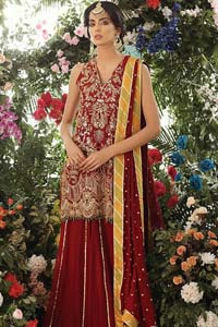 Tradition meets modernity. Boost your confidence and style in this glamorous attire accentuated with finest zardozi work embroidery and scalloped borders with dandling pearls. This maroon sleeveless shirt is ornamented with golden and light golden zardozi work. The scalloped hemline is decorated with dangling pearls. Style it confidently with maroon sharara adorned with beautiful gota work. It is paired with an ethereal maroon dupatta with scattered sequins all over and four sided applique borders.