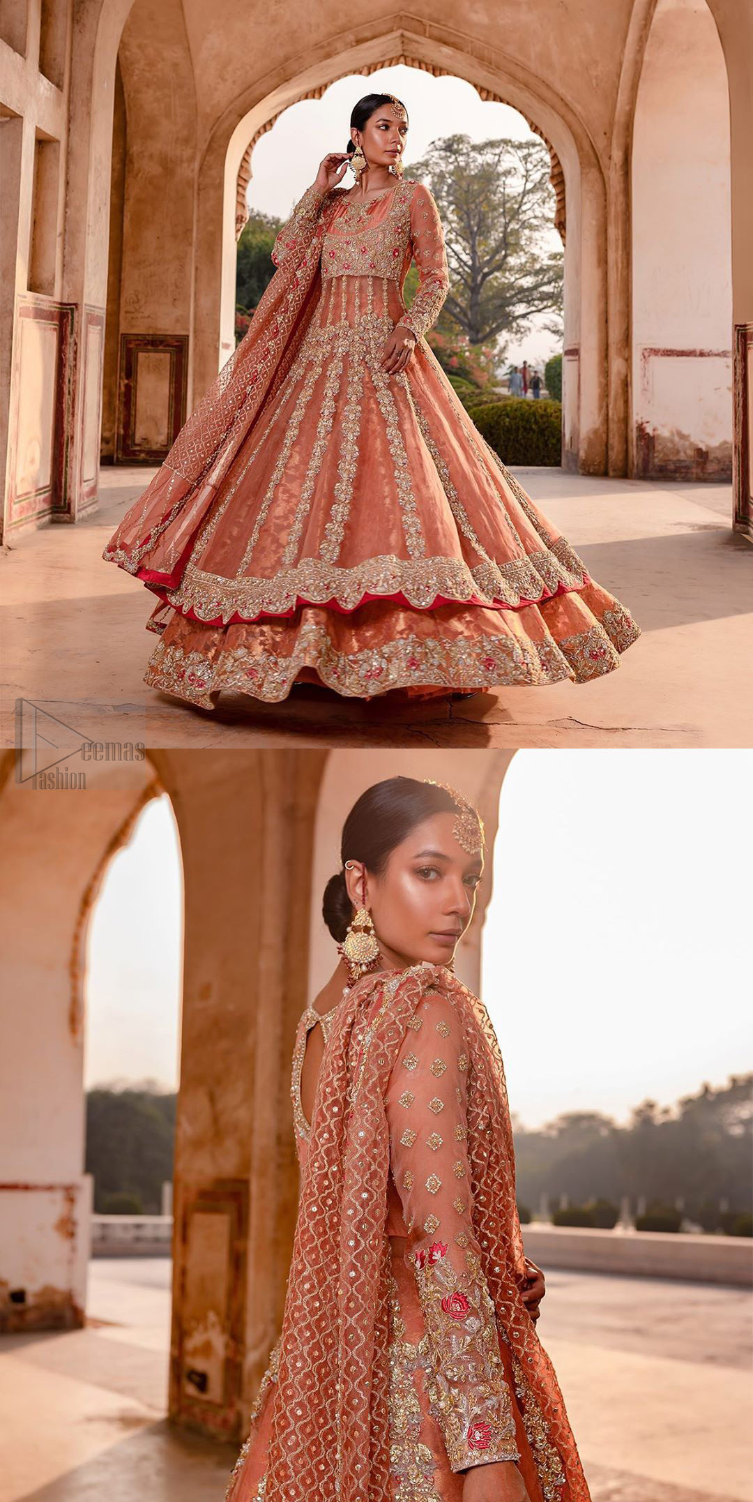You are all set to make a lasting impact with the divine royalty of this dress. This garment is sure to make you look like glamorous with immaculate work covering every inch of the pishwas with multiple panels. This pishwas made of zardozi work with scalloped hemline and applique is everything that you need for your festivities. The brocade lehenga is beautifully adorned with thick embellished bottom with zardozi work in the shades of silver and gold. Style it up with peach organza dupatta with criss-cross patterns and floral booties on borders. This is an ensemble that deserves to be flaunted.