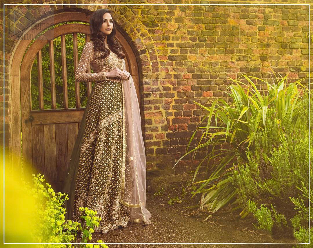Nothing speaks of femininity and class louder than this mehndi outfits for bridesmaids. The motifs on the mehndi lehenga for a wedding are a true example of decorative and ornamental expression stylized in a contemporary way. The chic yet elegant mehndi green lehenga is decorated with zardozi embellished vertical lines, geometric patterns adorned with gotta work and floral bunches. Borders are even more enhanced with detailed motifs and finished with scallops. The blouse is fully decorated with floral embroidery all over with zardozi work in the shades of golden and antique. The look is completed with organza dupatta with embroidered lace borders and sequins spray all over.