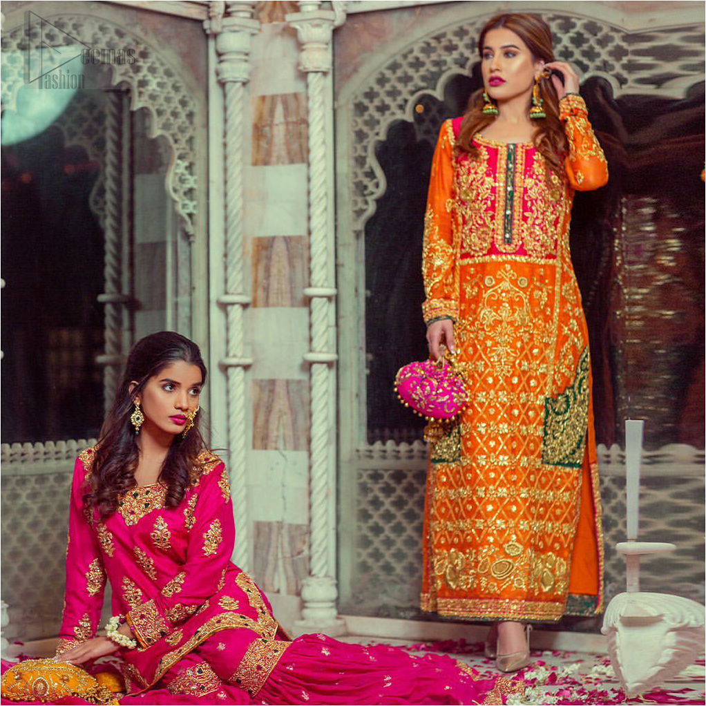 Get bold and beautiful with this uber-stylish ensemble that has flattering cuts, and a colour palette that is bewitching. This orange long shirt adorned with intricate tilla work, kora, dabka and sequins is perfect ensemble for mehndi. Furthermore the shirt is also highlighted with pink embellished bodice and rest of the shirt is enhanced with geometric gota embroidery and green applique instantly draws attention.. It comprises with orange pajama adorned with gota work. Paired with pink chiffon dupatta with kiran lace finishing all around the edges that gives the right amount of glamour to the outfit.