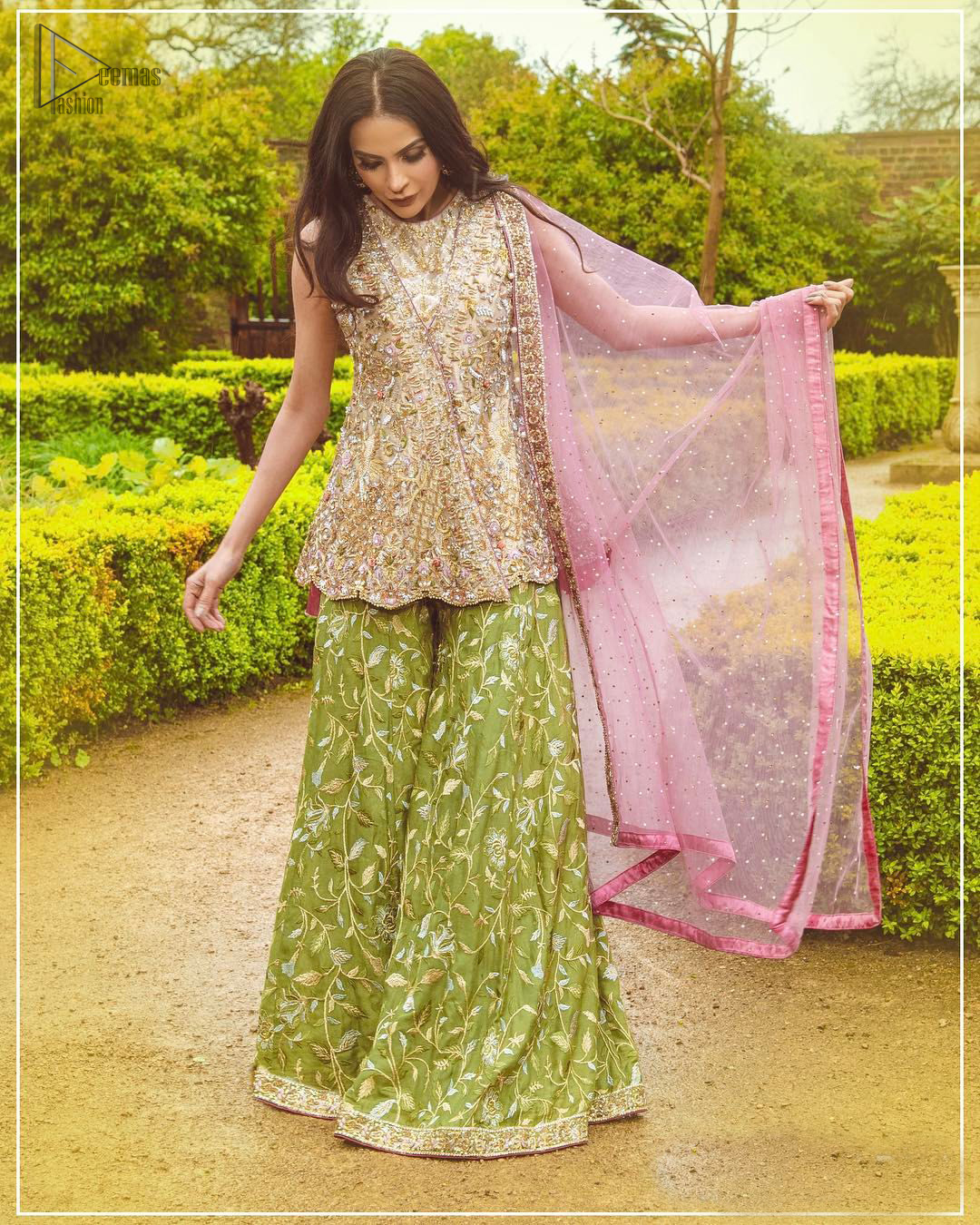 Wear this soft and supple hues richly decorated by shade pink with zardozi embroidered motifs and floral bootis all over the shirt. The outfit is finished by beautiful overlaping and scalloped hemline. It comes with an exquisite sharara with embroidered border and floral bootis all over to give it a regal look. The outfit is coordinated with pink net dupatta having sequins spray all over the ground and zardozi embellished borders along the length.