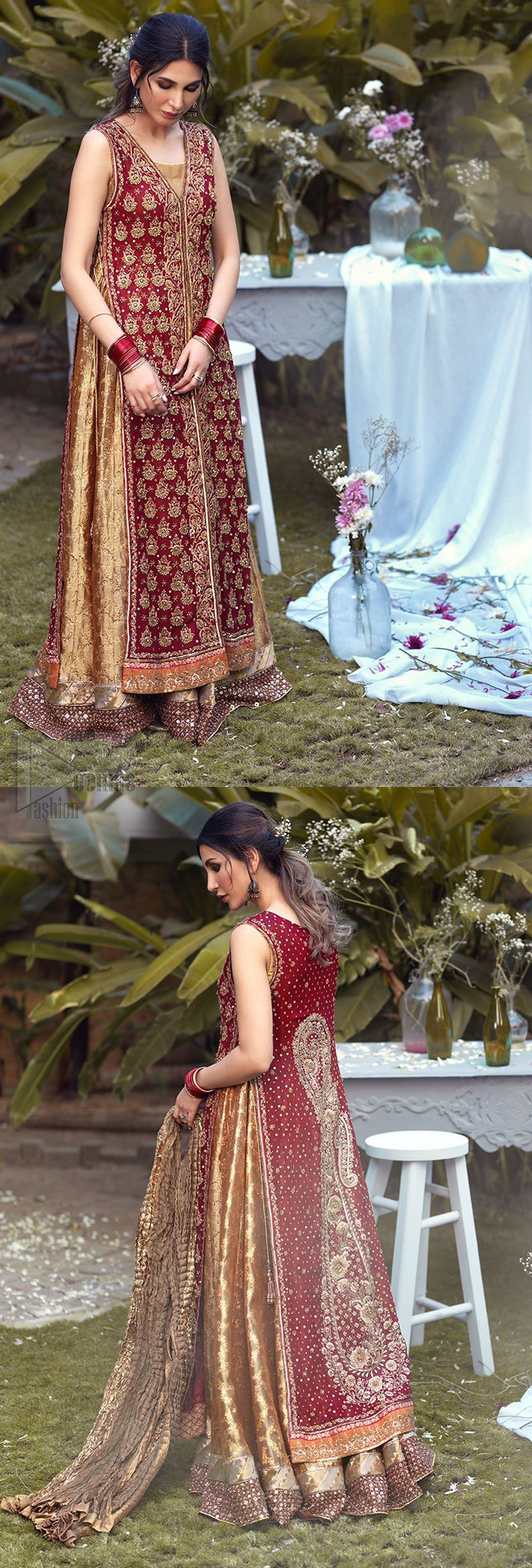 Impeccably on trend, this chic, romantic and oh-so-elegant ensemble is perfect for the one who want to mix vintage touches in with more daring and contemporary designs. Unique craftsmanship and detailed embellishments on the maroon front open shirt, done with golden zardozi. Furthermore the back of the shirt is also emphasized with zardozi work and scattered sequins all over the back. It comprises with golden inner maxi enhanced with maroon embellished applique on the bottom. Pair it up with golden brocade churidar pajama and golden crushed dupatta.