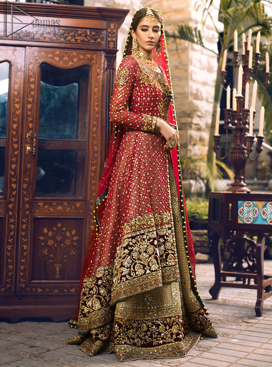 Tradition meets modernity in this dress. For an opulent upgrade to your occasion wear our red jacket (Front open gown having bodice) highlighted with a beautifully embellished bodice and damman.