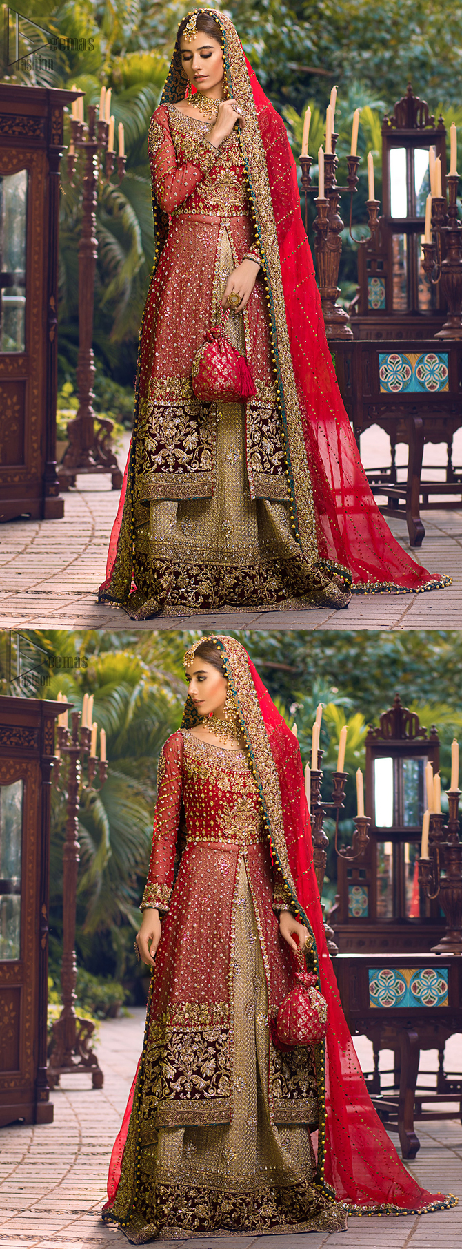 Tradition meets modernity in this dress. The lehenga with hand embroidery all over and finished with Velvet appliqued borders completes the look.