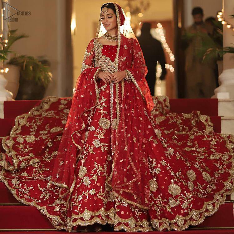 Pakistani Bridal Wear - Red Front Open Back Train Maxi
