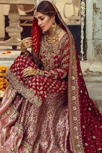 Red Strait Pakistani Bridal Shirt - Banarsi Tissue Sharara