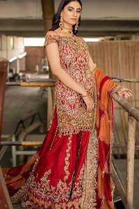 Red Off Shoulder Short Shirt - Chatta Patti Sharara n Dupatta