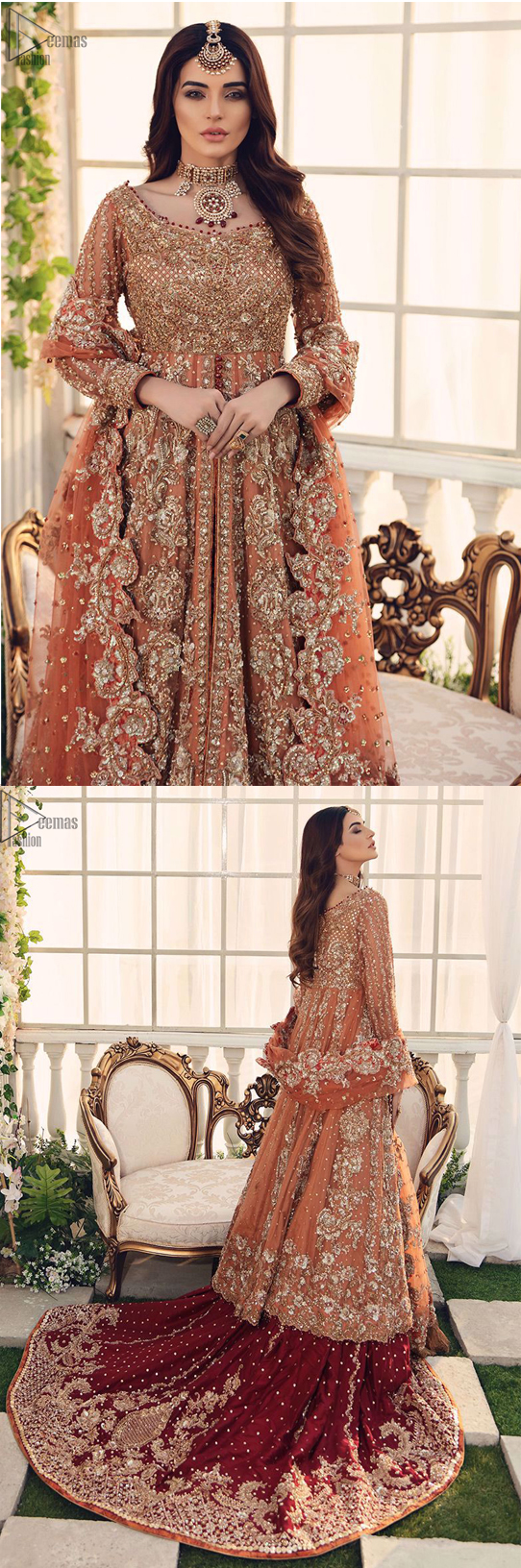 This fairytale ensemble is everything that you need to impress everyone. The maroon Lehenga is an example of remarkable handwork. The floor kissing asymmetrical lehenga adds to its charm and falling to a dramatic train.