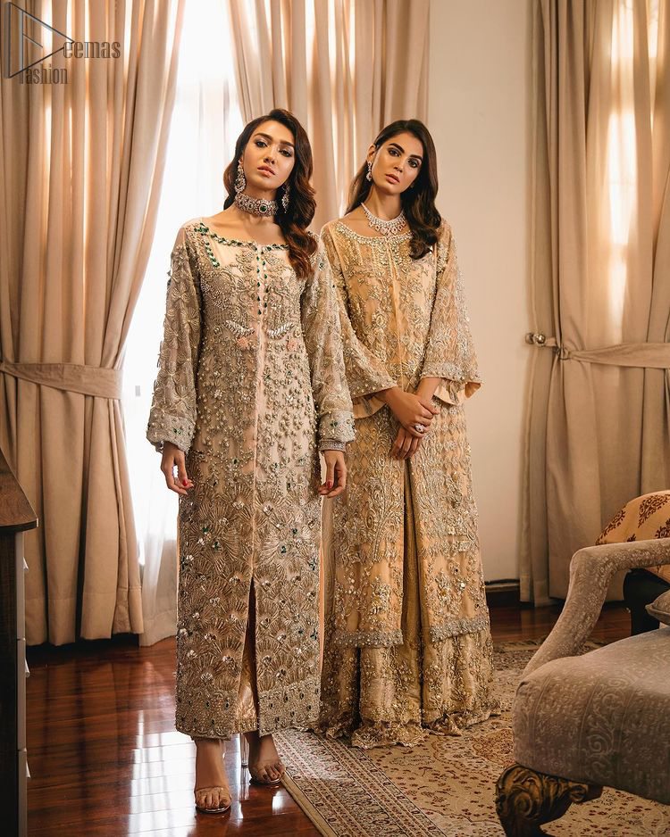 An unforgettable look and ideal for the festive season. An elegant yet trendy front open style makes this outfit more classy. Crafted artfully with detailed zardozi work and illusion neckline finessed with kora, dabka, and Kundan. The motifs and intricate details are a true example of decorative and ornamental expression stylized in a contemporary way. The bell sleeves make this outfit more classy. Balance the look with banarsi lehenga highlighted with embroidered borders at the bottom. The dupatta is enhanced with embroidered pallu.