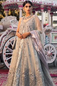 Light Gray Lehenga Blouse – Front Open Gown