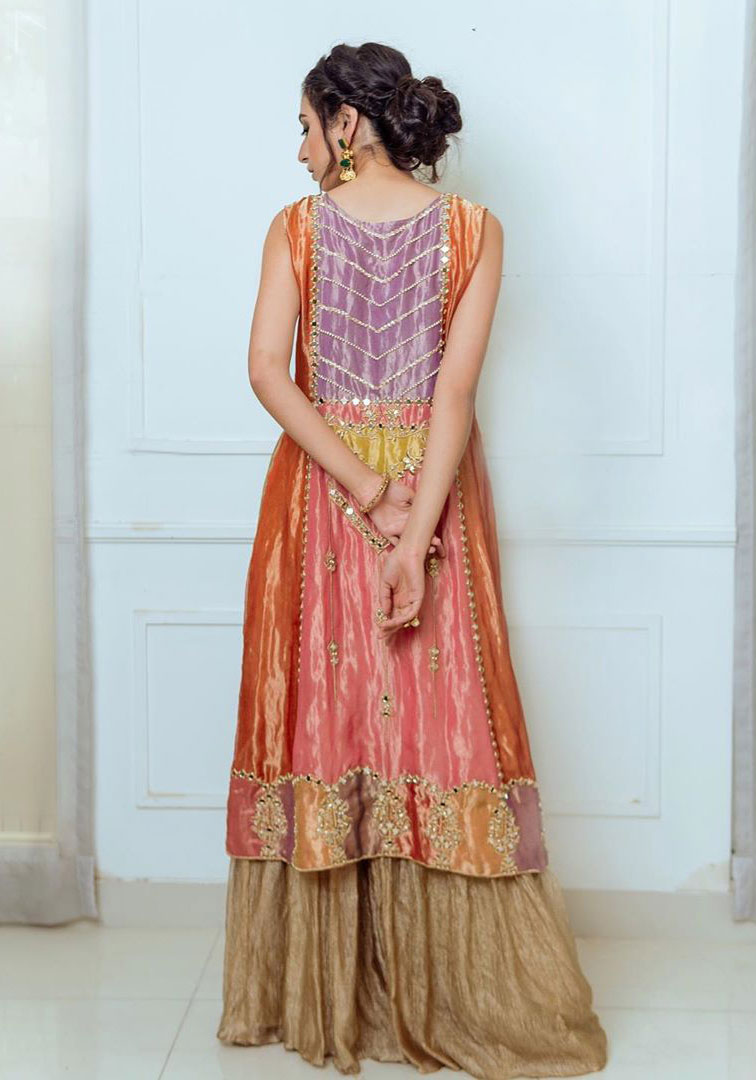 Orange Appliqued Shirt- Golden Sharara
