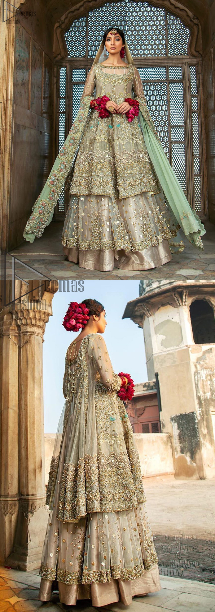 Pastel Green Double Layer Frock - Tea Rose Sharara. Fabulously stitched, Pastel Green double flared frock in maxi style is exquisite indeed. Fully embellished with tilla, dabka, sequins, pearls and silk thread embroidery. The frock body is entirely composed of pure organza with one part round neckline. Frock comes with three-quarter sleeves and it is concealed with a side zip closure. Tea rose pure tissue sharara with decently composed with fixed waist belt with side zip closure is one to wear on nikah or on a wedding day.