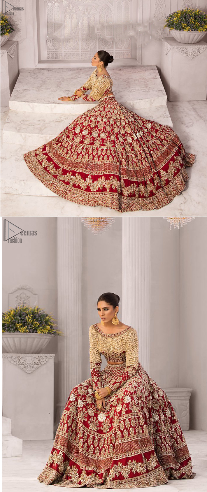 Discover classic red and fawn dresses for a traditional style, with delicate detailing and intricate accents for a subtle yet sophisticated look, including long-sleeves laden with zardozi work. The blouse is beautifully sculptured with floral embroidery, also adorned with cutwork, embellished with silver kora dabka, pearl and sequins work all over. Complement the look with a red lehenga emphasized with different sizes of floral motifs, geometric pattern and heavy embellished bottom with zardozi work is absolutely breathtaking. The outfit is to pair up with a red dupatta with hand embellished border and floral motifs all over.