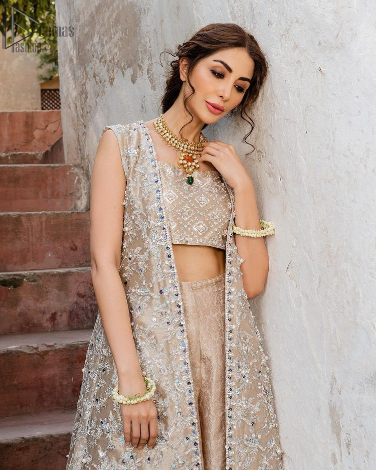 Pakistani Party Dress - Beige Open Shirt n Blouse - Palazzo Pants. A traditional design of mesmerizing silver embroidery intensifies its charm.