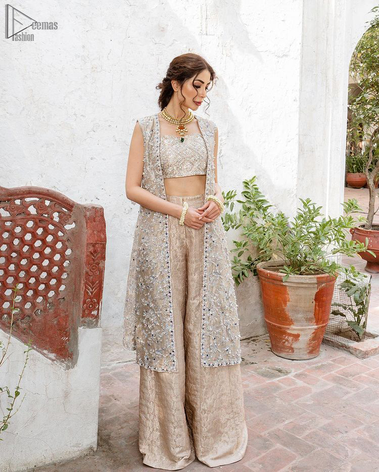 Pakistani Party Dress - Beige Open Shirt n Blouse - Palazzo Pants. The dress is made with pure Katan Banarasi Jamawar
