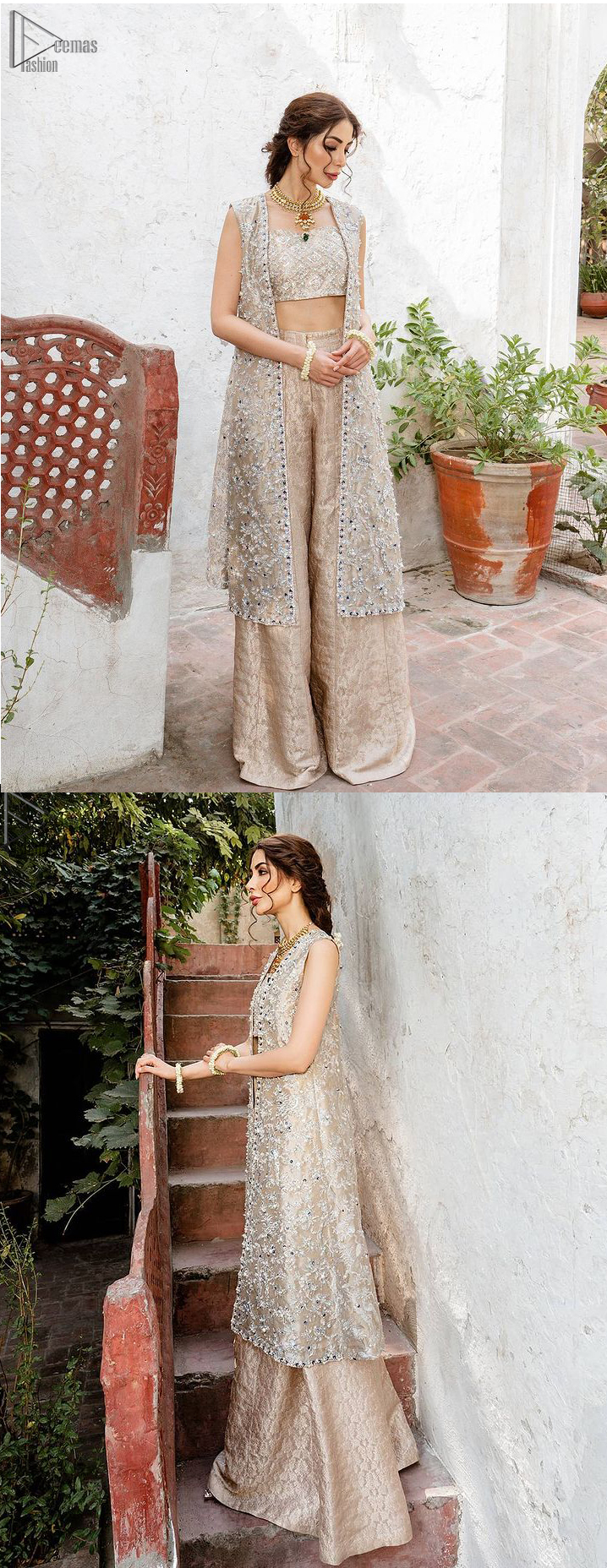 The dress is made with pure Katan Banarasi Jamawar that comes with a magnificent net choli followed by the perfect palazzo pants.Pakistani Party Dress - Beige Open Shirt n Blouse - Palazzo Pants. This attractive semi-formal dress would delight your day either at party wear.