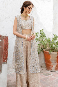 Pakistani Party Dress - Beige Open Shirt n Blouse - Palazzo Pants. Style with confidence with a fantastic Beige Open Shirt n Blouse.