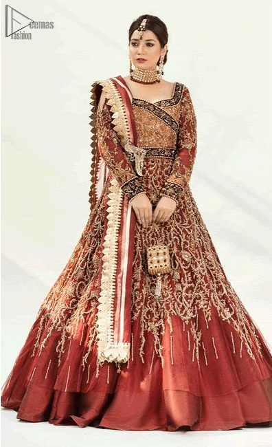 Pakistani Reception Wear - Burgundy Ball Gown – Lehengha