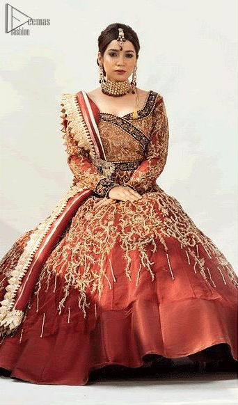 Pakistani Reception Wear - Burgundy Ball Gown – Lehengha. Dress up traditionally with Deemas Fashion's marvellous Burgundy Ball Gown.