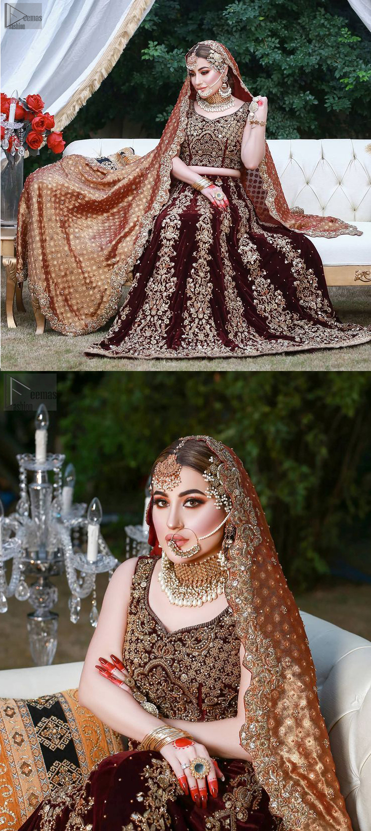 A copper-coloured Dupatta adds a cultural sense to the dress code, making you appear glamourous.