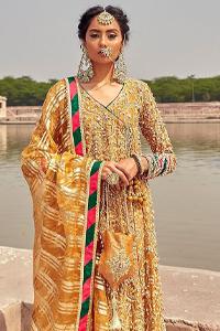Latest Mehndi Wear - Mustard Angrakha Frock - Chatta Patti Dupatta. A perfect wedding dress is all about its design and glamour.