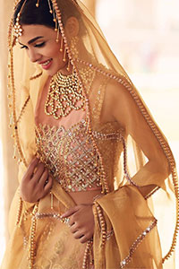 Take all the attention of the guests with your exquisite look with one of the best outfits from Deemas Fashion. Comprising of a peach organza round neckline blouse with complete zardozi work. This exceptionally embellished outfit is organized with a fawn organza dupatta which is sprayed with sequins glorifying its grace. Peach organza lehenga emphasized with floral bunches done with kora, dabka, tilla and sequins work. Making it true that you can turn all the heads around with your gorgeous ability to wear the outfit in a way that is spectacular.