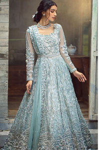 Powder Blue Maxi Lehenga – Dupatta