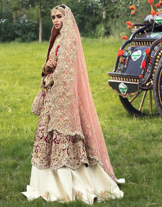 Red Front Open Gown – Ivory Lehenga