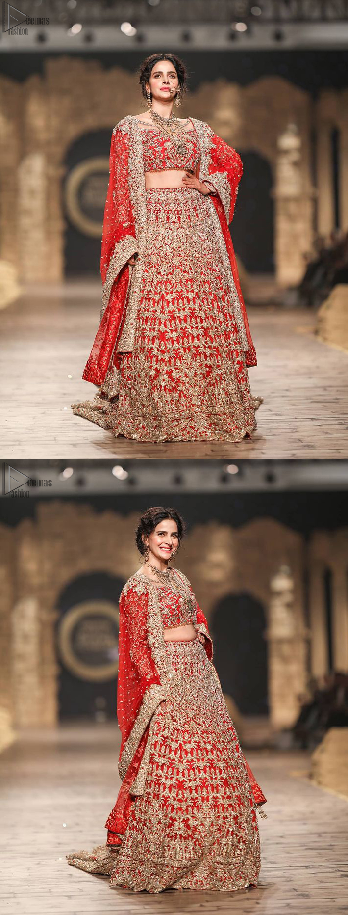 Pakistani Wedding Wear having Red Short Blouse Lehenga. While the final touch of golden embroidery concludes with the supreme elegance of the dress.