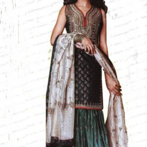 Pakistani Bridal Dress - Dark Green Sharara