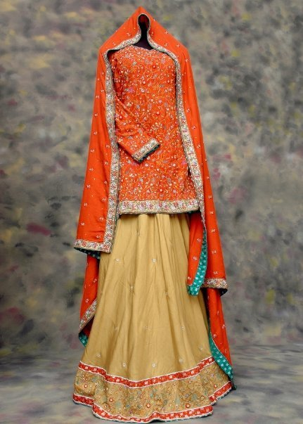 Designers Bridal Dress - Peach & Golden Lehnga