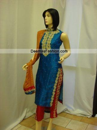 Pakistani Designer Dress - Blue Red Formal Wear