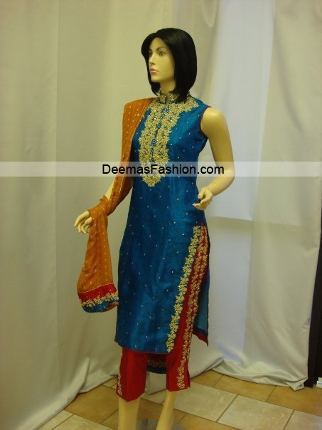 Pakistani Designer Dress – Blue Red Formal Wear